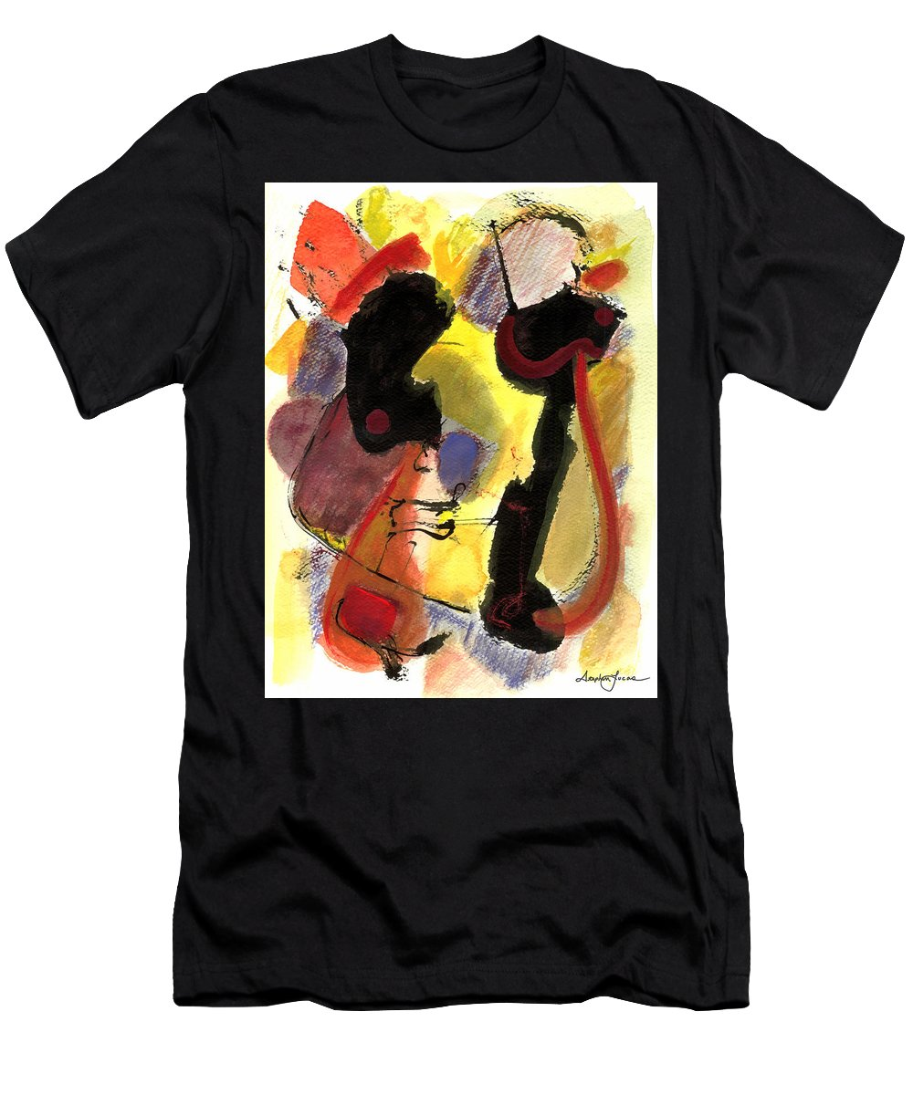 Abstract Art Men's T-Shirt (Athletic Fit) featuring the painting Golden Moon 2 by Stephen Lucas