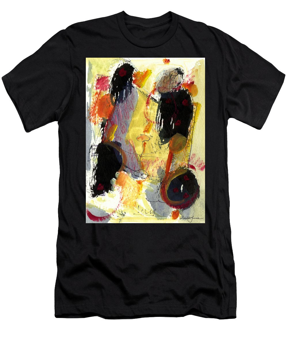 Abstract Art Men's T-Shirt (Athletic Fit) featuring the painting Golden Moon by Stephen Lucas