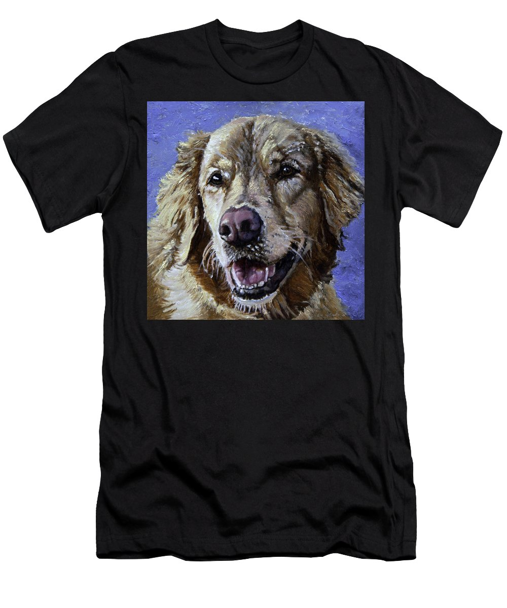 Dogs Men's T-Shirt (Athletic Fit) featuring the painting Golden Retriever - Molly by Portraits By NC