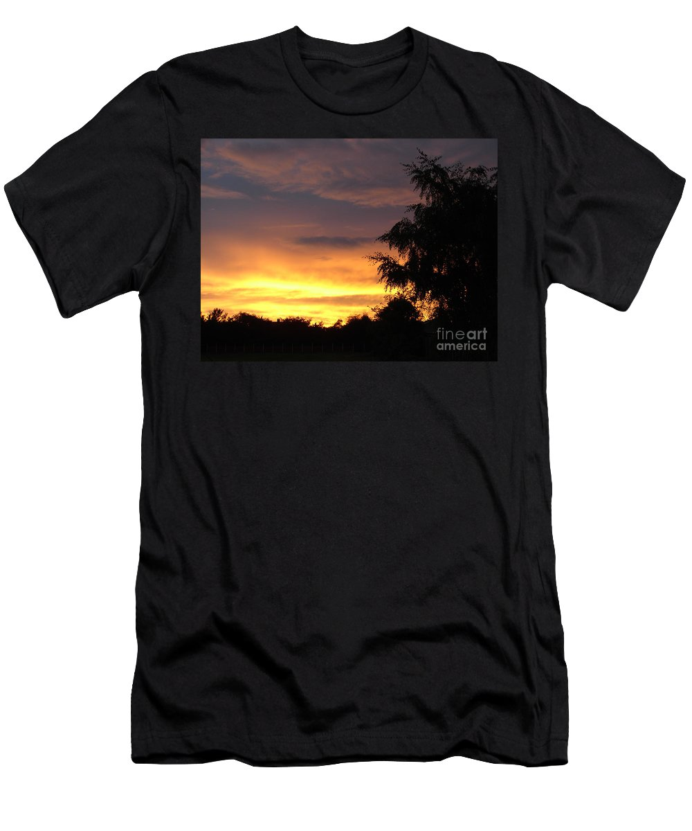 Sunset Men's T-Shirt (Athletic Fit) featuring the photograph Golden Sunset 3 by Carol Lynch