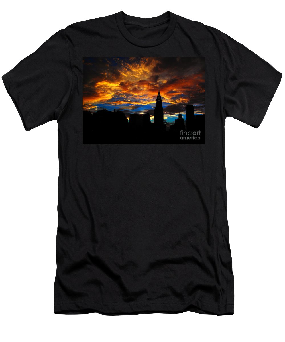 Chrysler Building Men's T-Shirt (Athletic Fit) featuring the photograph Golden Sunset Indigo Sky - With Chrysler Building by Miriam Danar