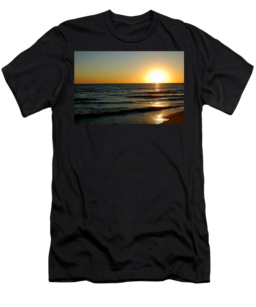 Beach Men's T-Shirt (Athletic Fit) featuring the photograph Golden Sunset by May Photography