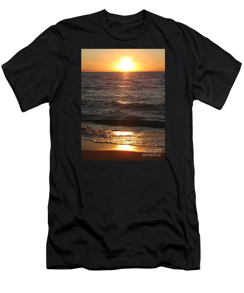 Sunset Men's T-Shirt (Athletic Fit) featuring the photograph Golden Sunset At Destin Beach by Christiane Schulze Art And Photography