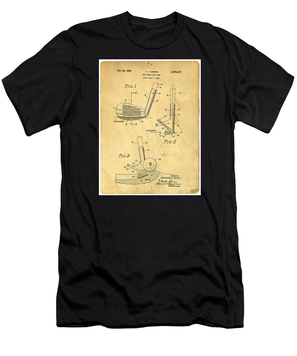 Golf Men's T-Shirt (Athletic Fit) featuring the photograph Golf Sand Wedge Patent On Aged Paper by Edward Fielding