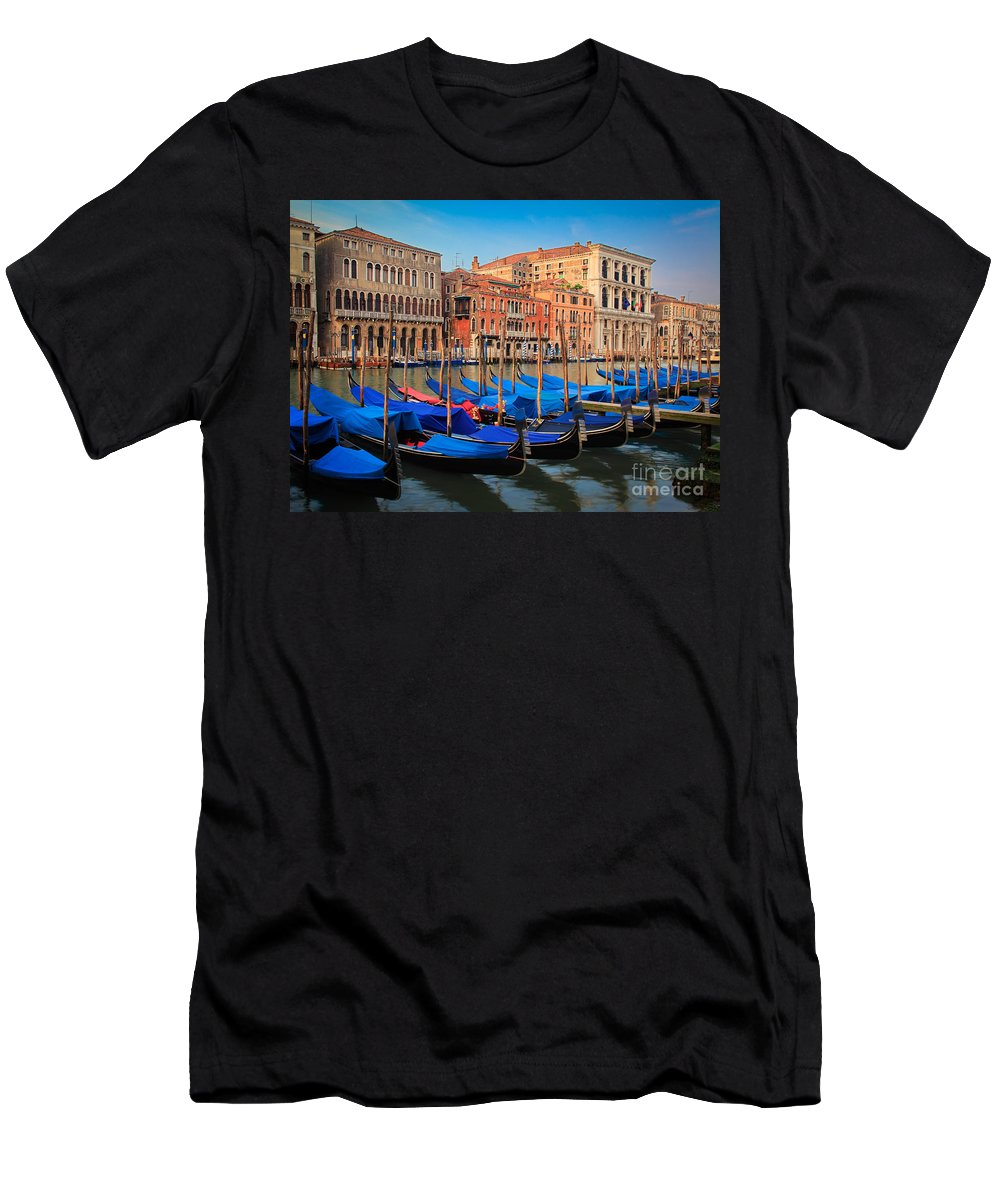 Canal Grande Men's T-Shirt (Athletic Fit) featuring the photograph Gondola Row by Inge Johnsson