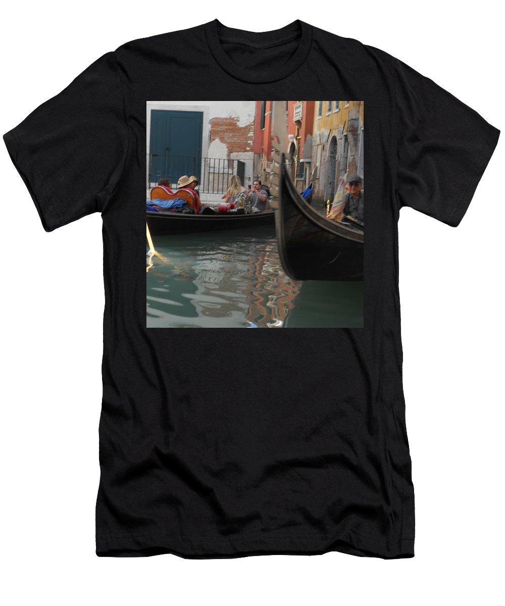 Gondola Men's T-Shirt (Athletic Fit) featuring the photograph Gondolas In Venice by Dotti Hannum