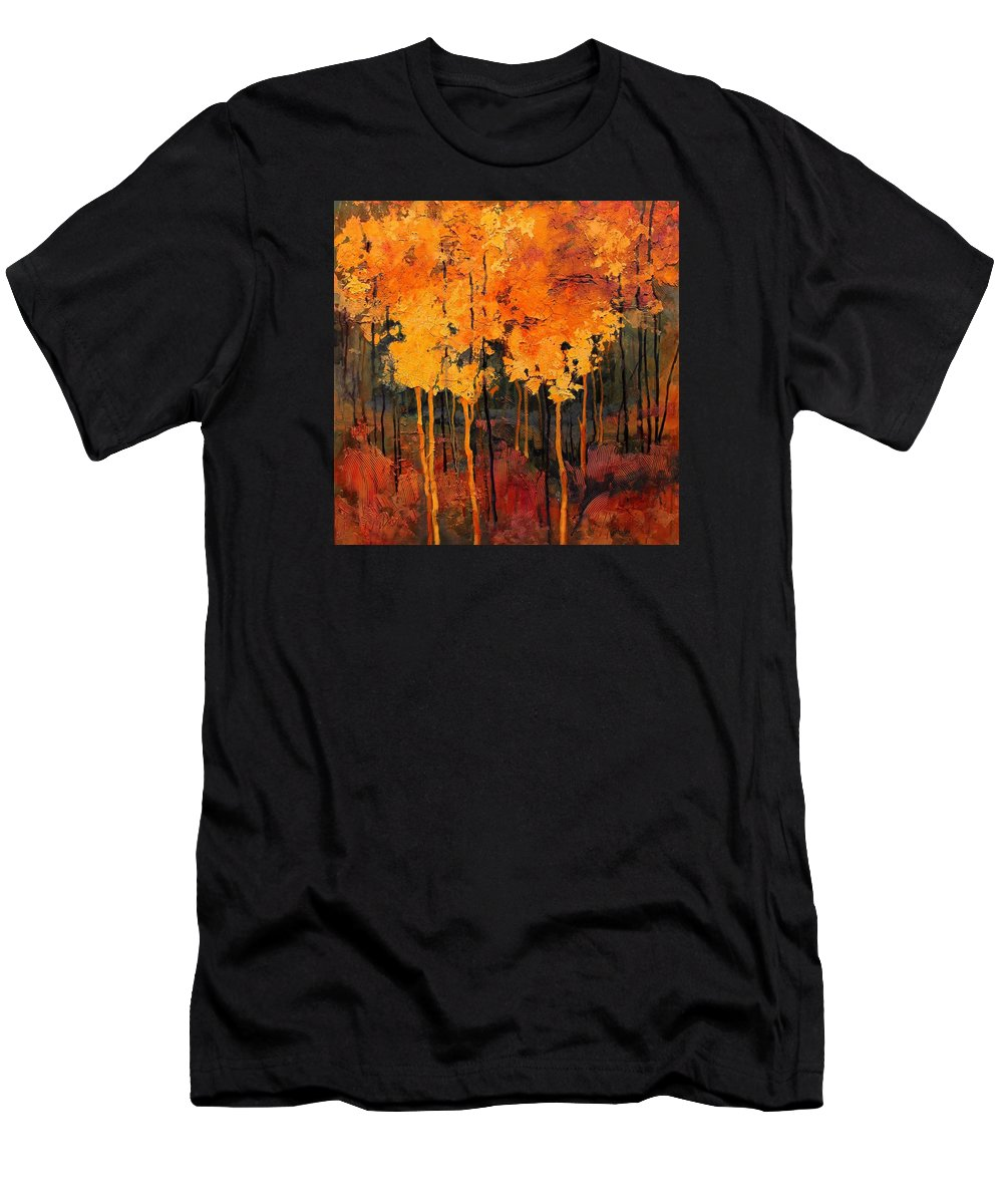 Landscape Men's T-Shirt (Athletic Fit) featuring the painting Good Fortune by Carol Nelson
