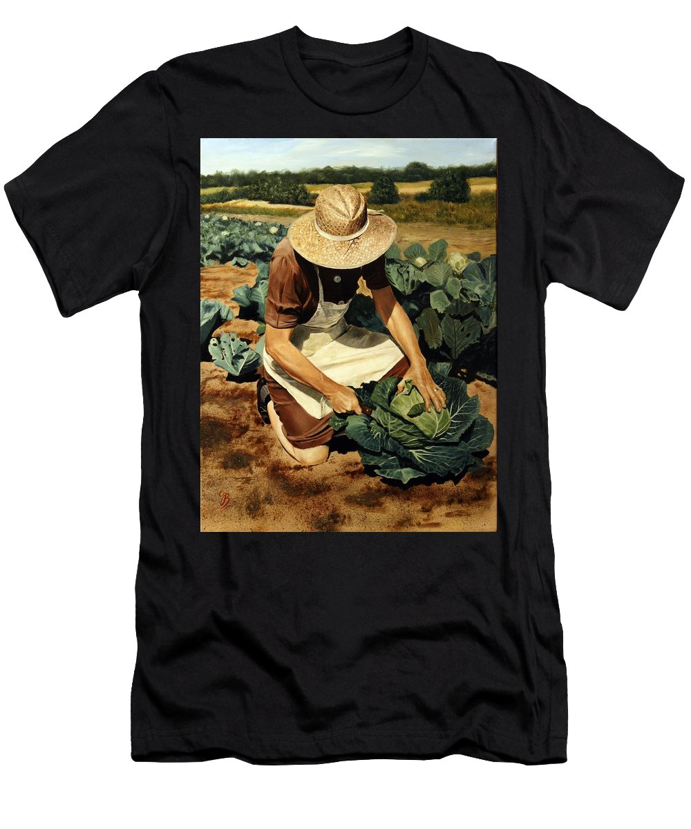 Oil Painting Men's T-Shirt (Athletic Fit) featuring the painting Good Harvest by Glenn Beasley