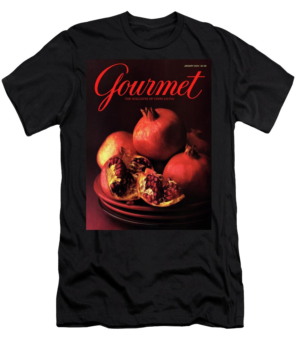 Food T-Shirt featuring the photograph Gourmet Cover Featuring A Plate Of Pomegranates by Romulo Yanes