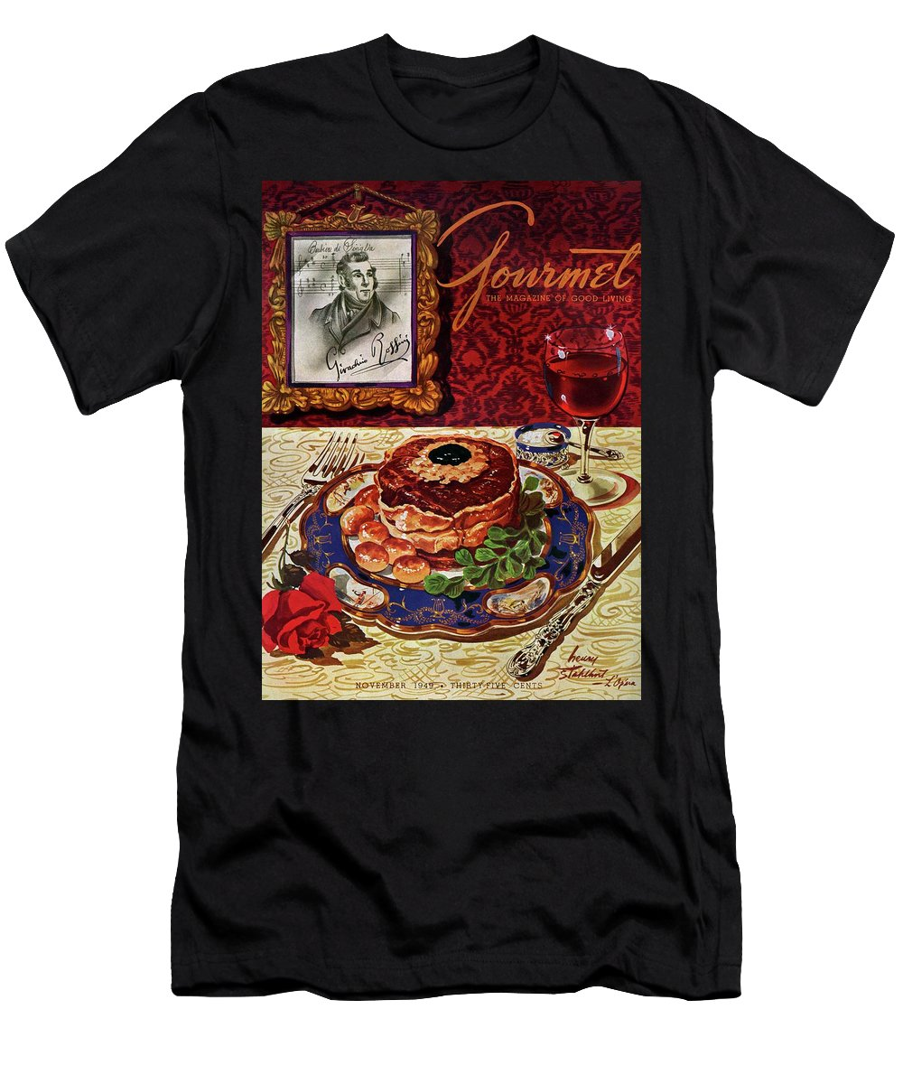 Food T-Shirt featuring the photograph Gourmet Cover Featuring A Plate Of Tournedos by Henry Stahlhut