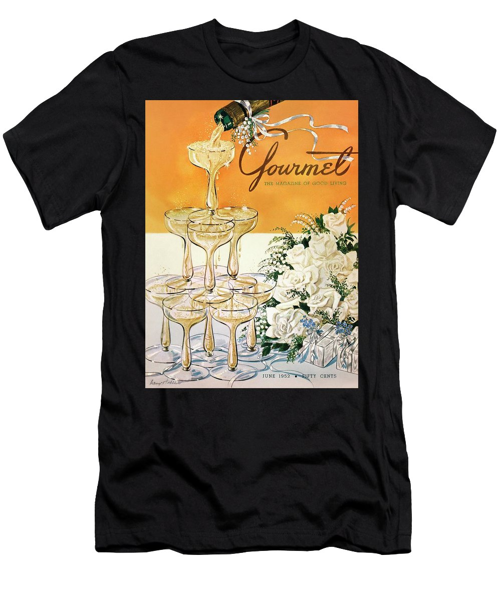 Entertainment Men's T-Shirt (Athletic Fit) featuring the photograph Gourmet Cover Featuring A Pyramid Of Champagne by Henry Stahlhut
