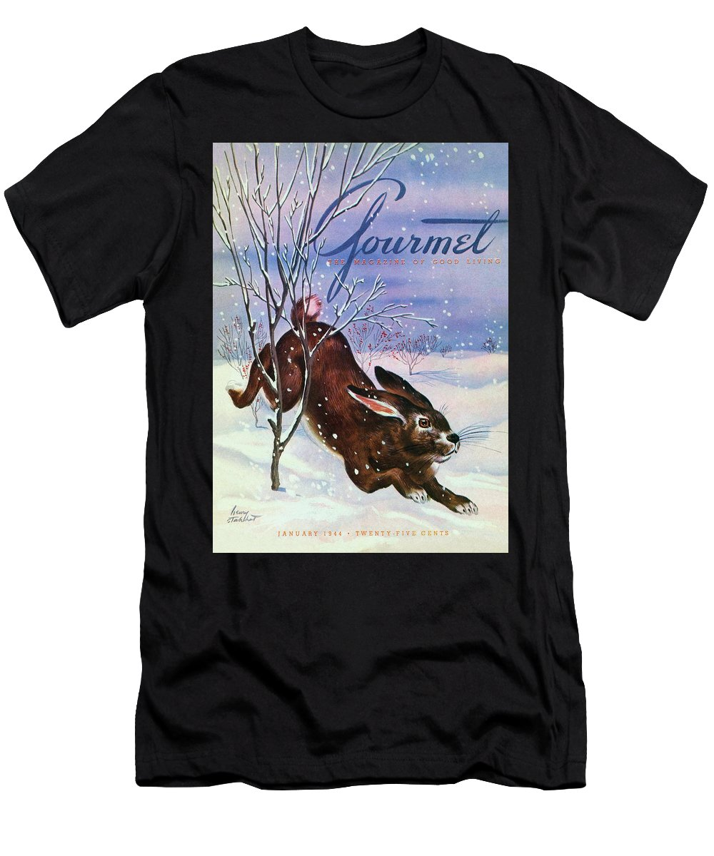 Illustration Men's T-Shirt (Athletic Fit) featuring the photograph Gourmet Cover Of A Rabbit On Snow by Henry Stahlhut