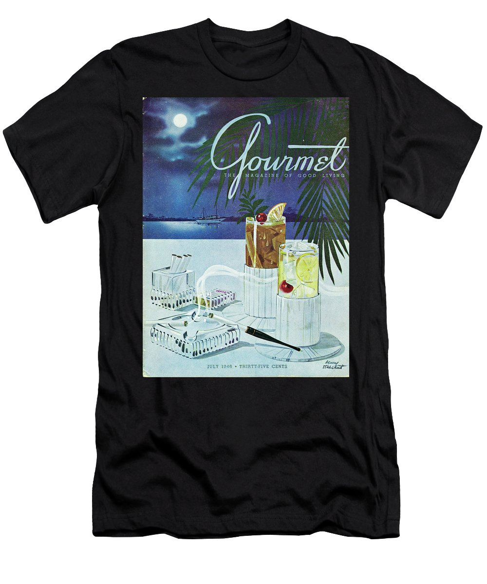 Boat Men's T-Shirt (Athletic Fit) featuring the photograph Gourmet Cover Of Cocktails by Henry Stahlhut
