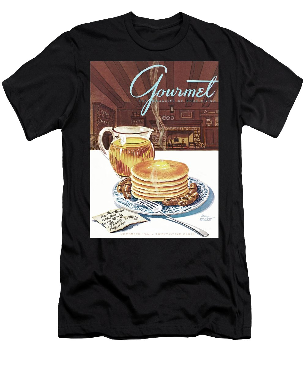 Food Men's T-Shirt (Athletic Fit) featuring the photograph Gourmet Cover Of Pancakes by Henry Stahlhut