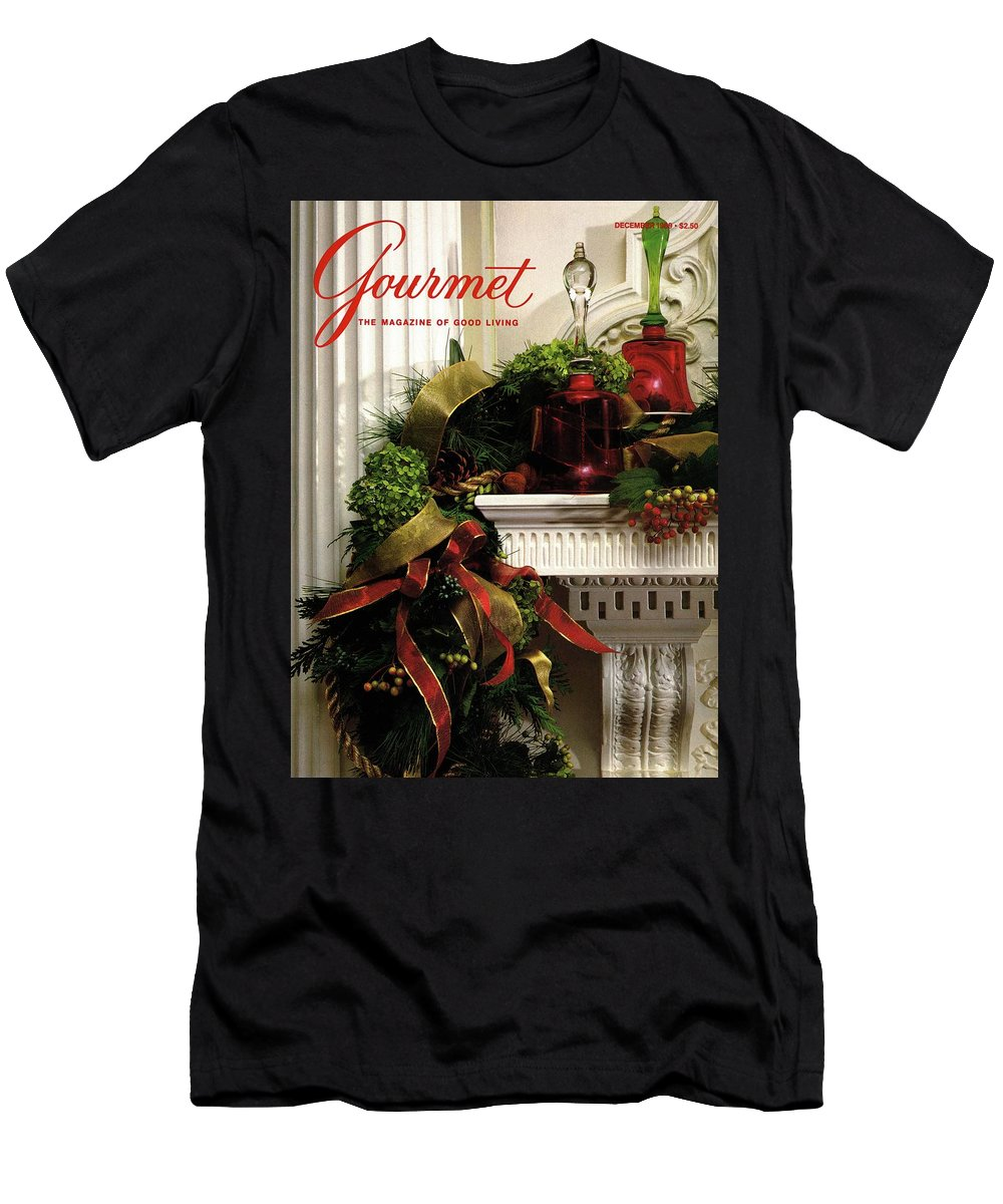 Decorative Art T-Shirt featuring the photograph Gourmet Magazine Cover Featuring Christmas Garland by Romulo Yanes