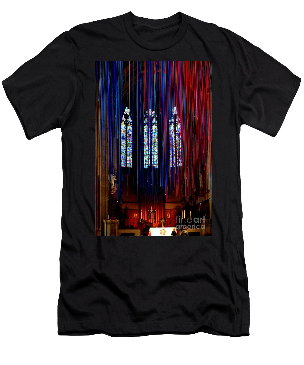Grace Cathedral Men's T-Shirt (Athletic Fit) featuring the photograph Grace Cathedral With Ribbons by Dean Ferreira