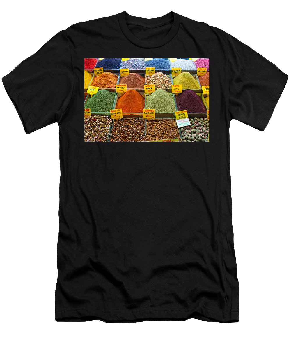 Artisan Men's T-Shirt (Athletic Fit) featuring the photograph Grand Bazaar Spices In Istanbul by Luciano Mortula