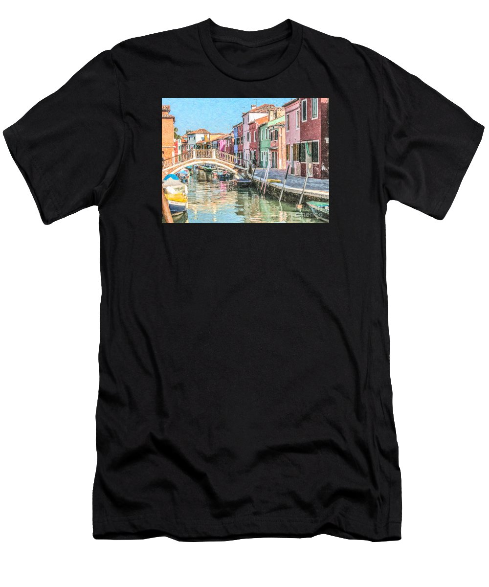 Burano Men's T-Shirt (Athletic Fit) featuring the digital art Grand Canal Burano Venice by Liz Leyden