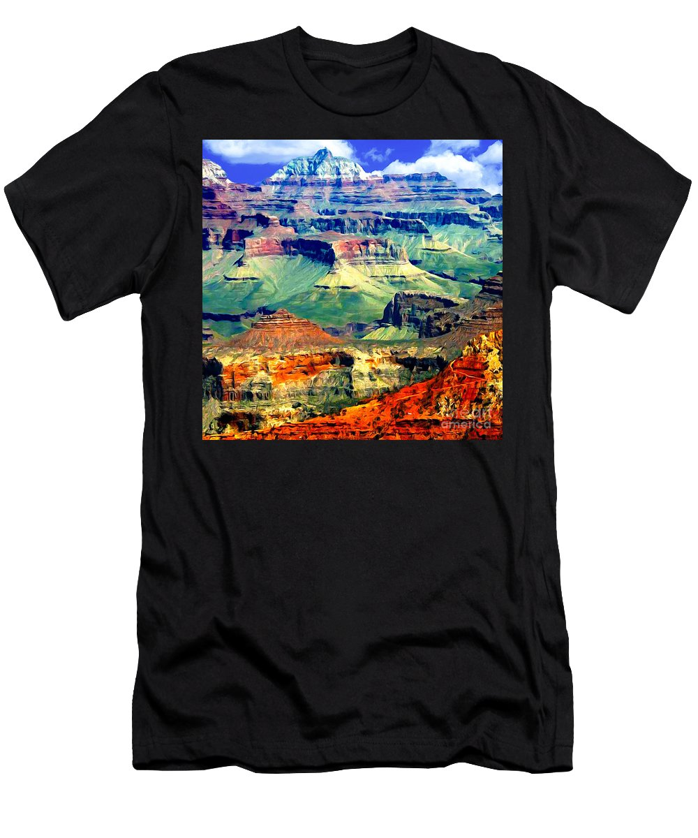 Grand Canyon Men's T-Shirt (Athletic Fit) featuring the painting Grand Canyon After Monsoon Rains by Bob and Nadine Johnston