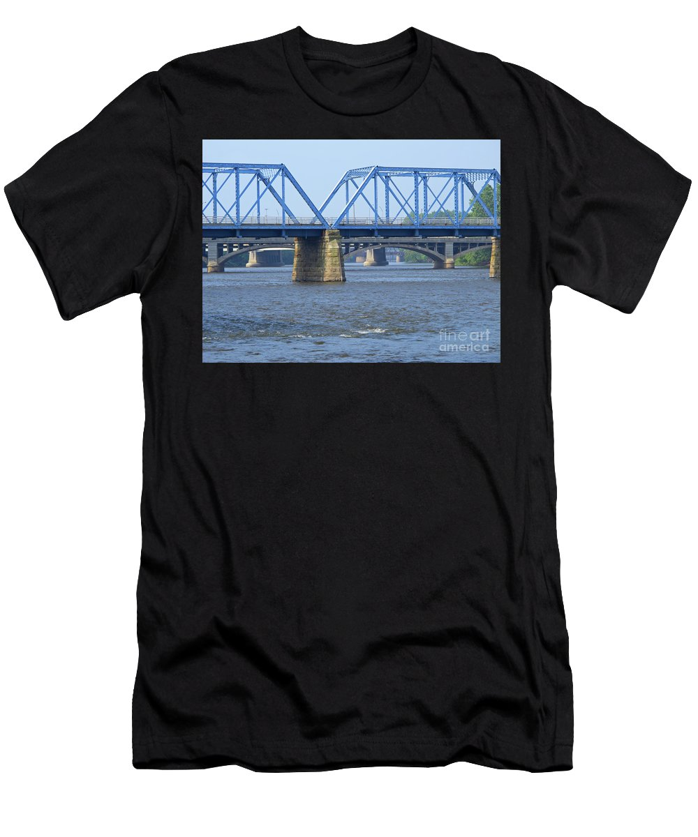 Bridge Men's T-Shirt (Athletic Fit) featuring the photograph Grand Rapids Crossings by Ann Horn