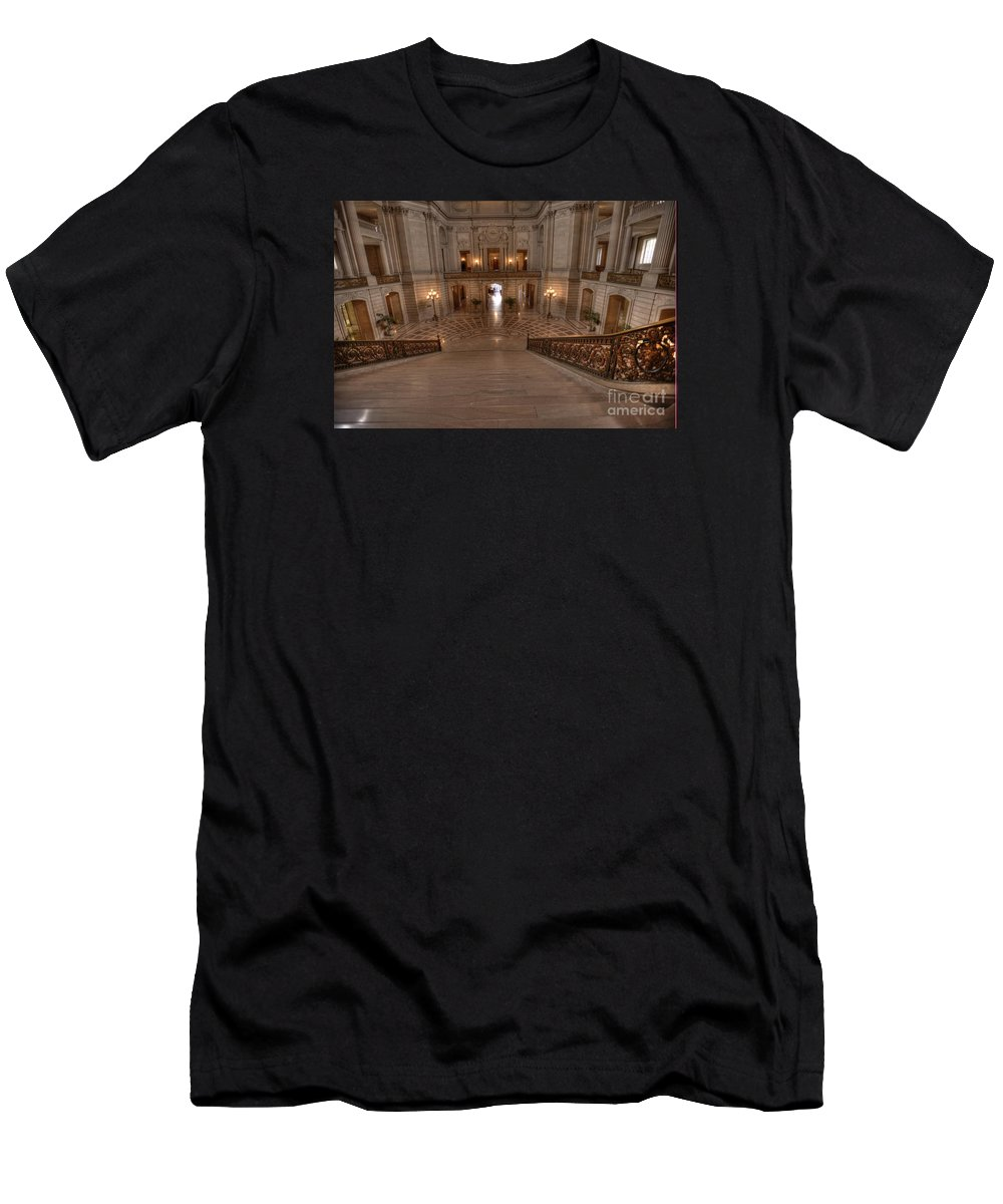 City Hall Men's T-Shirt (Athletic Fit) featuring the photograph Grand Staircase S F City Hall by David Bearden
