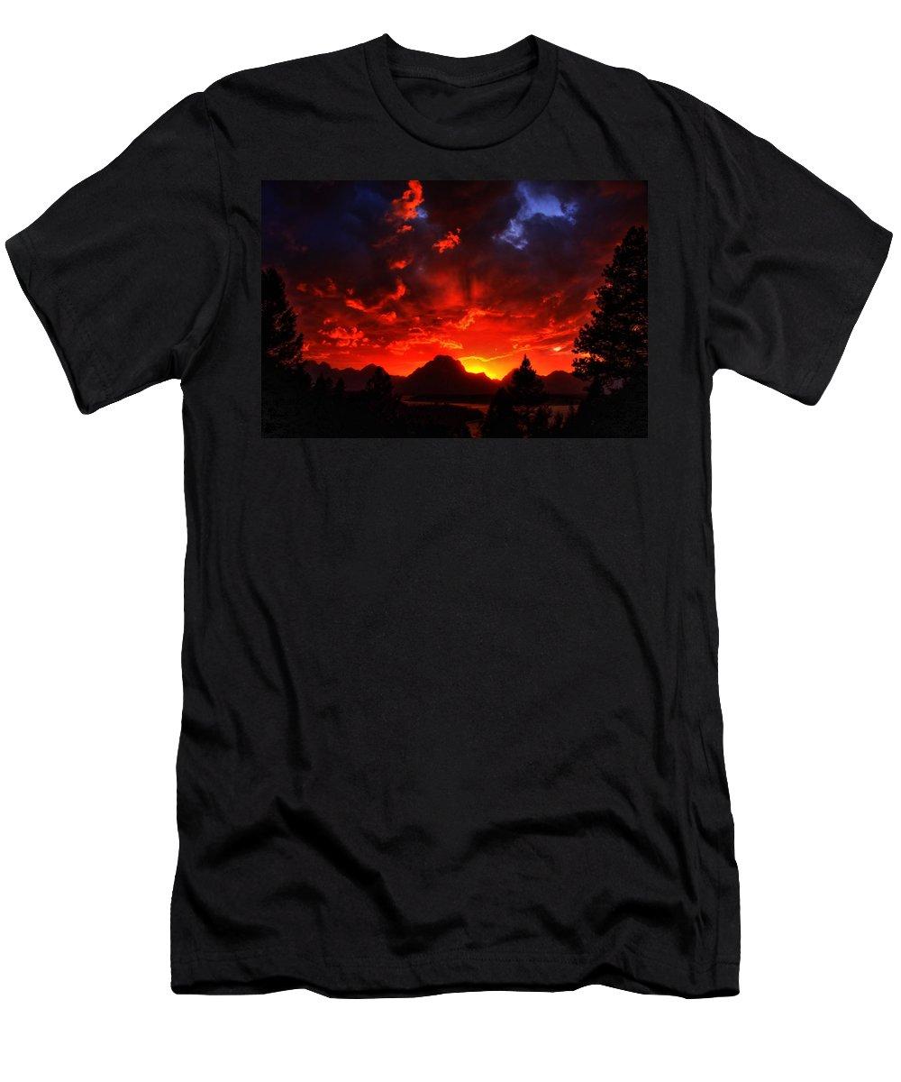 Grand Tetons Men's T-Shirt (Athletic Fit) featuring the photograph Grand Teton Sunset by Aidan Moran