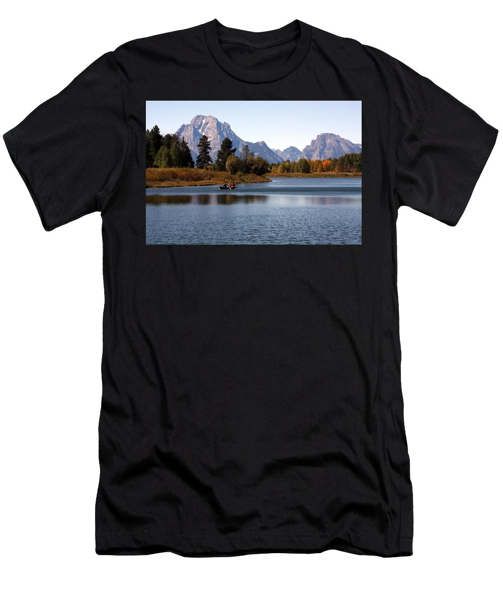 North America Men's T-Shirt (Athletic Fit) featuring the photograph Snake River, Grand Tetons, Wyoming by Aidan Moran