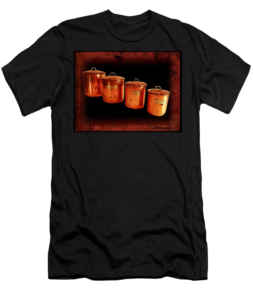Vintage Men's T-Shirt (Athletic Fit) featuring the photograph Grandma's Kitchen-copper Canister Set by Ellen Cannon