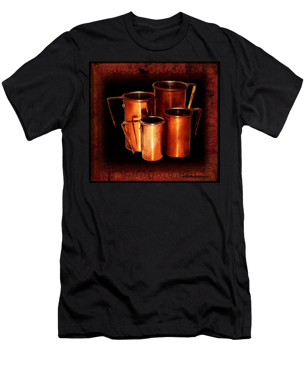 Vintage Men's T-Shirt (Athletic Fit) featuring the photograph Grandma's Kitchen-copper Measuring Cups by Ellen Cannon