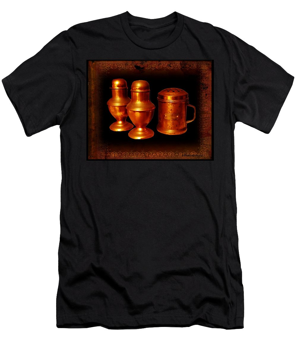 Vintage Men's T-Shirt (Athletic Fit) featuring the photograph Grandma's Kitchen-copper Salt Pepper And Flour Shakers by Ellen Cannon