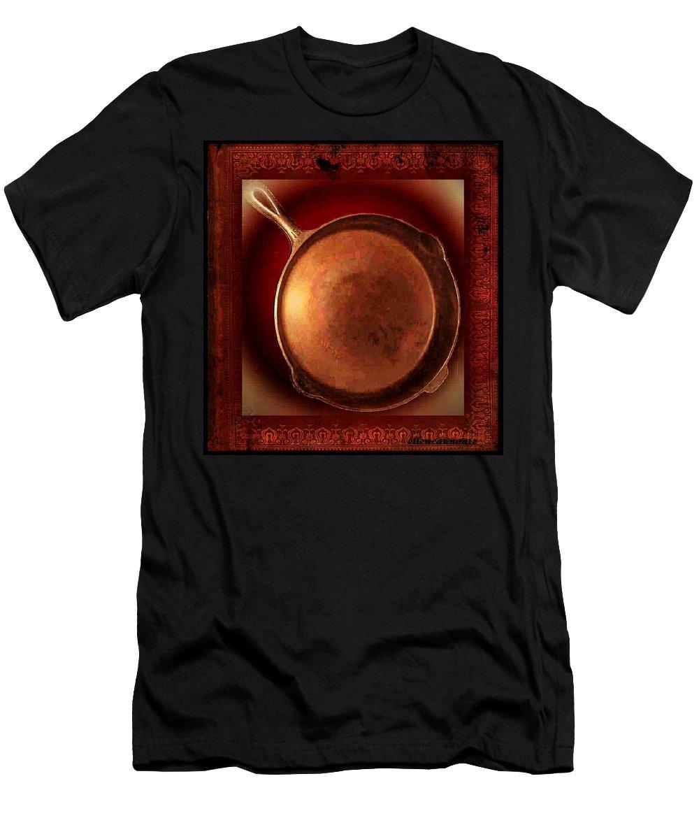 Vintage Men's T-Shirt (Athletic Fit) featuring the photograph Grandma's Kitchen- Copper Skillet by Ellen Cannon