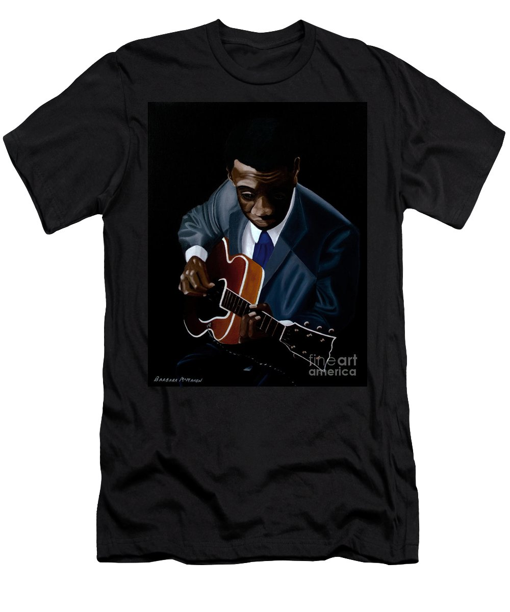 Jazz Men's T-Shirt (Athletic Fit) featuring the painting Grant Green by Barbara McMahon