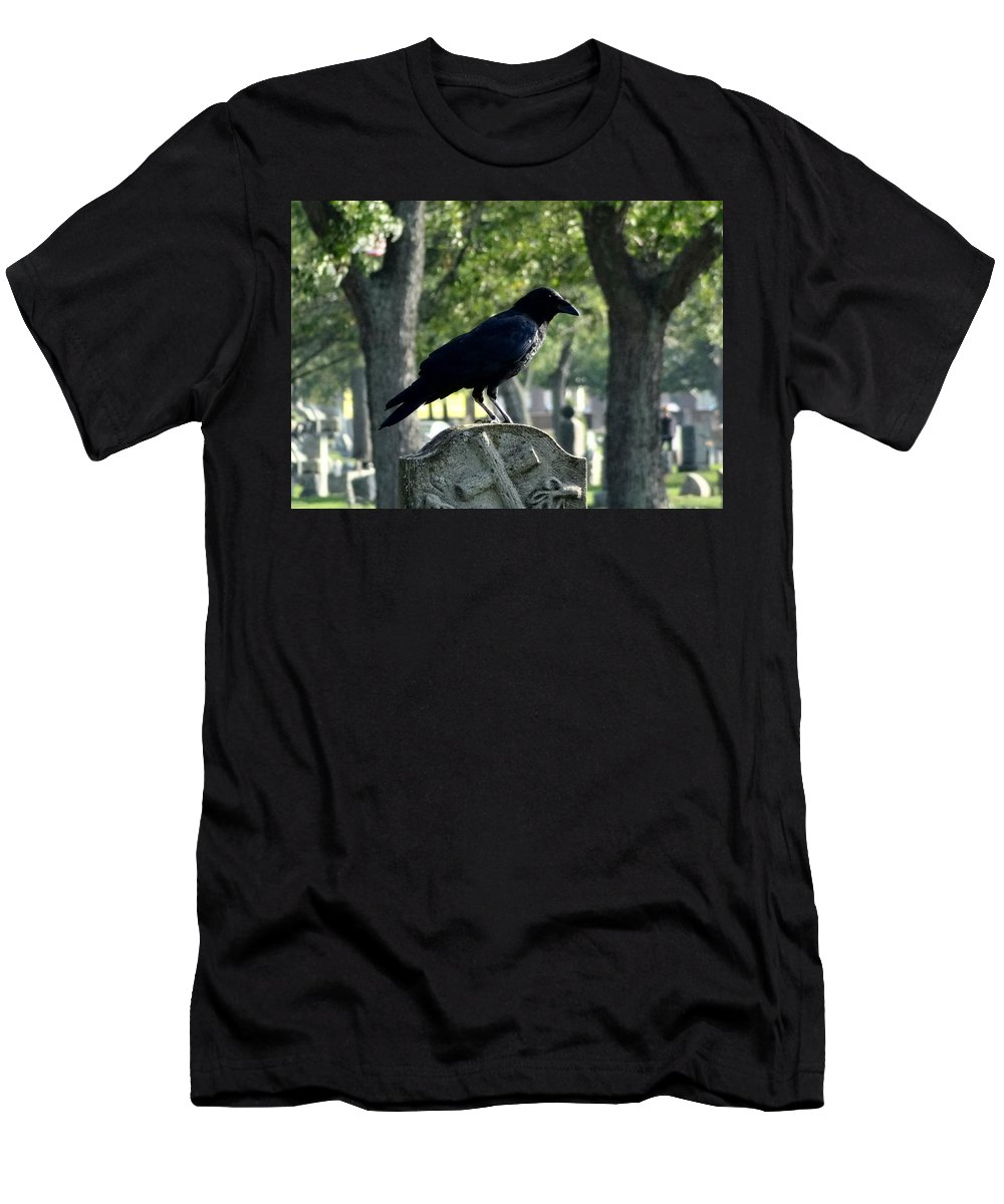 Trees And Crow Men's T-Shirt (Athletic Fit) featuring the photograph Graveyard Bird On Top Of A Tombstone by Gothicrow Images