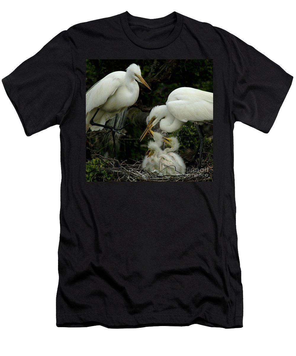 Great Egret Family Men's T-Shirt (Athletic Fit) featuring the photograph Great Egret Family 2 by Bob Christopher