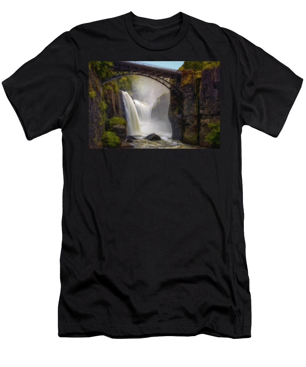 Paterson Great Falls National Historical Park Men's T-Shirt (Athletic Fit) featuring the photograph Great Falls Mist by Susan Candelario