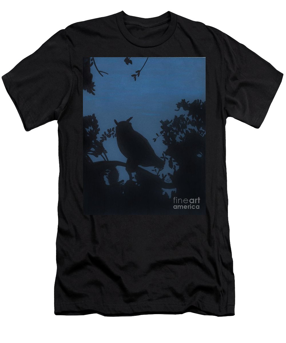 Owl Men's T-Shirt (Athletic Fit) featuring the drawing Owl At Night by D Hackett