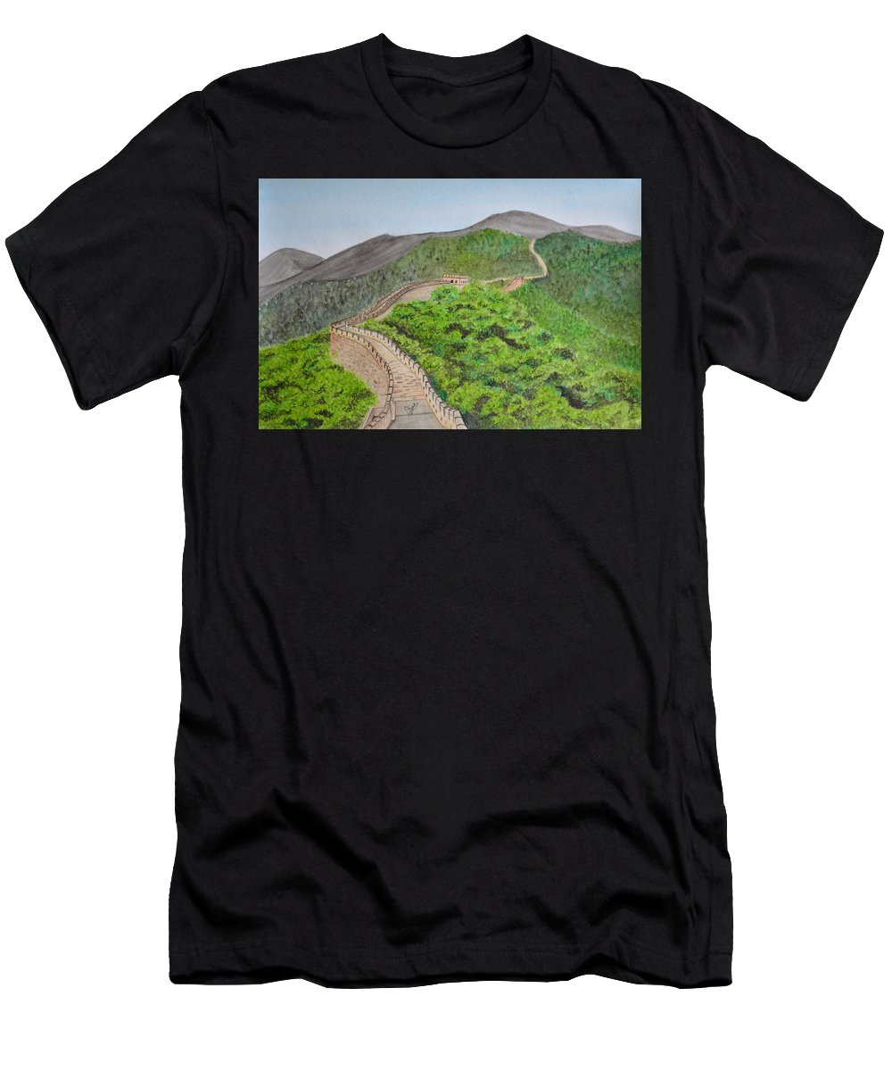 Great Wall Of China Men's T-Shirt (Athletic Fit) featuring the painting Great Wall Of China by Swati Singh