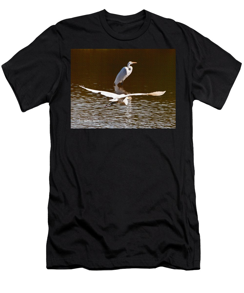 Greater Egrets Meeting Up;grp Men's T-Shirt (Athletic Fit) featuring the photograph Greater Egrets Meeting Up by Tom Janca
