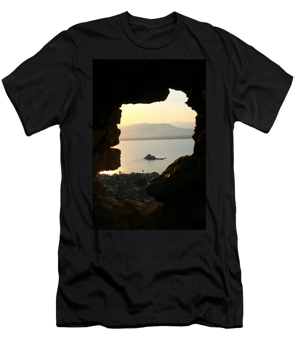 Men's T-Shirt (Athletic Fit) featuring the photograph Greece-nafplio Bourtzi From Castle by Alexandros Petrides