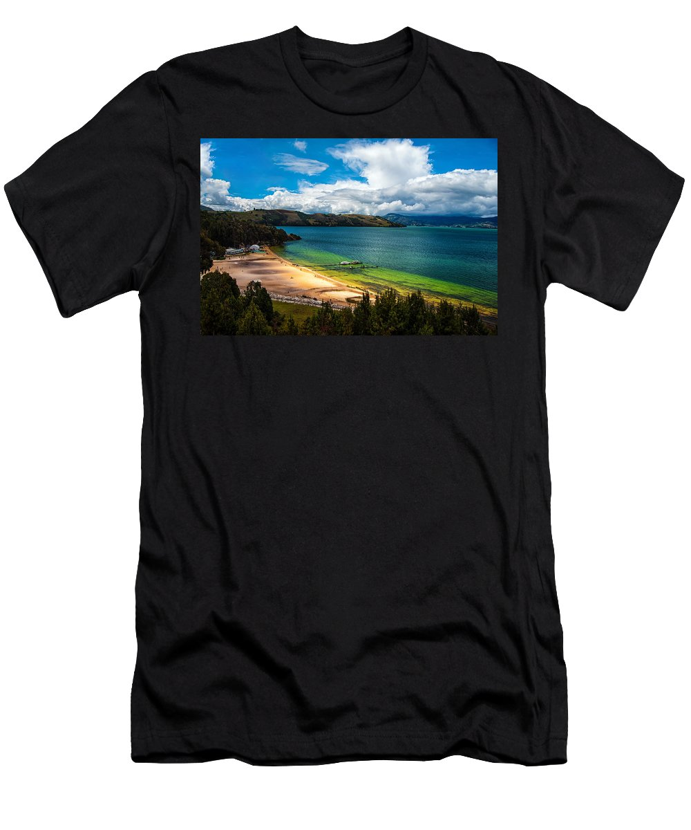 Lake Men's T-Shirt (Athletic Fit) featuring the photograph Green And Blue Lake by Jess Kraft