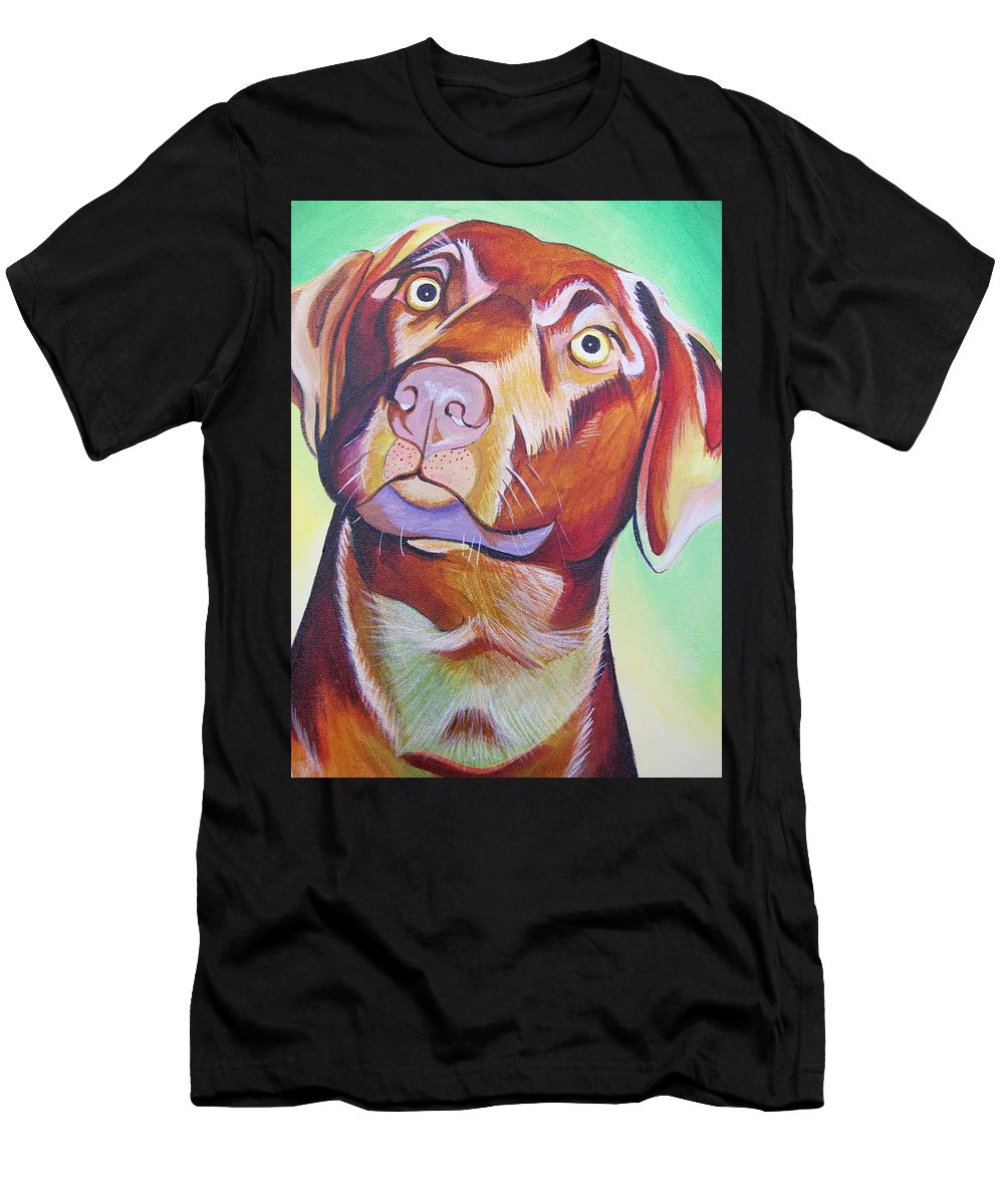 Dog Portraits Men's T-Shirt (Athletic Fit) featuring the painting Green And Brown Dog by Joshua Morton