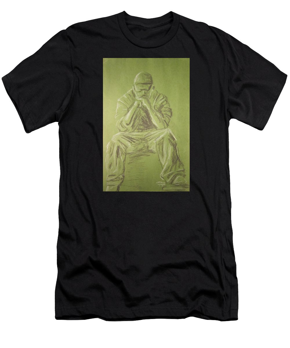Figure Men's T-Shirt (Athletic Fit) featuring the drawing Green Figure I by Jeffrey Oleniacz
