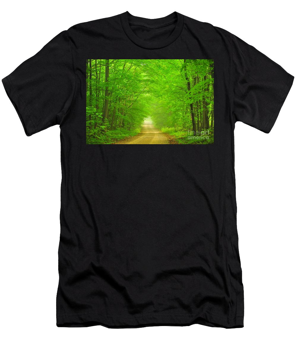 Green Men's T-Shirt (Athletic Fit) featuring the photograph Green Forest Tunnel by Terri Gostola