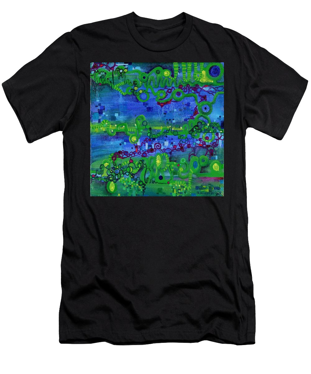 Path Integral Men's T-Shirt (Athletic Fit) featuring the painting Green Functions by Regina Valluzzi