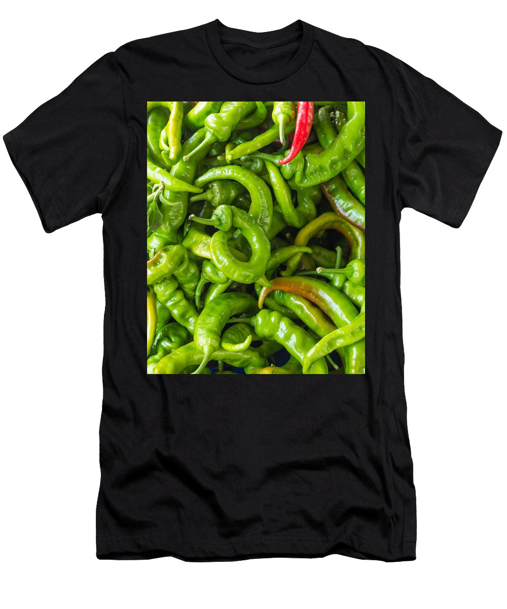 Agriculture Men's T-Shirt (Athletic Fit) featuring the photograph Green Hot Peppers by John Trax