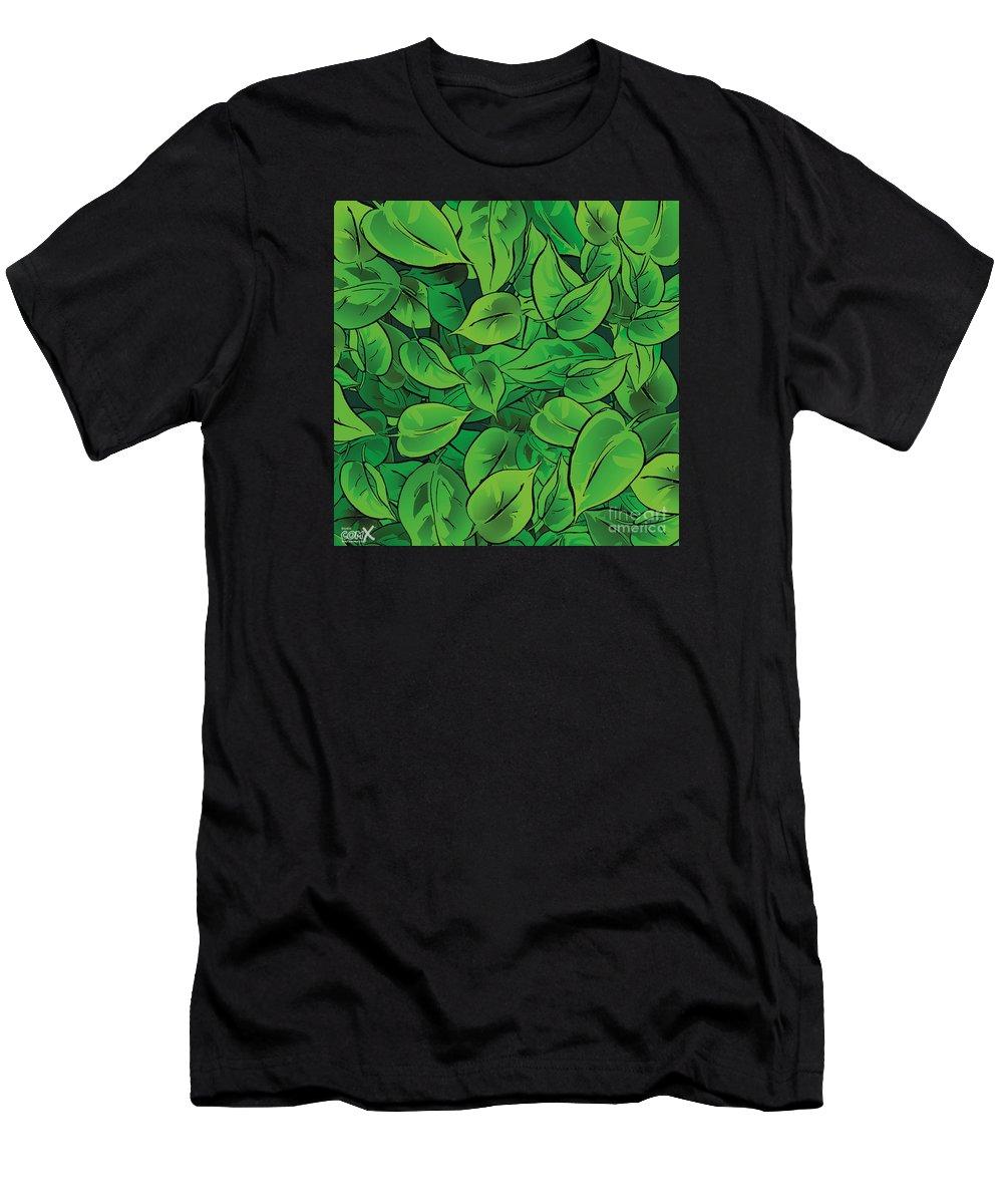 Comics Men's T-Shirt (Athletic Fit) featuring the digital art Green Leaves - V1 by Hanan Evyasaf