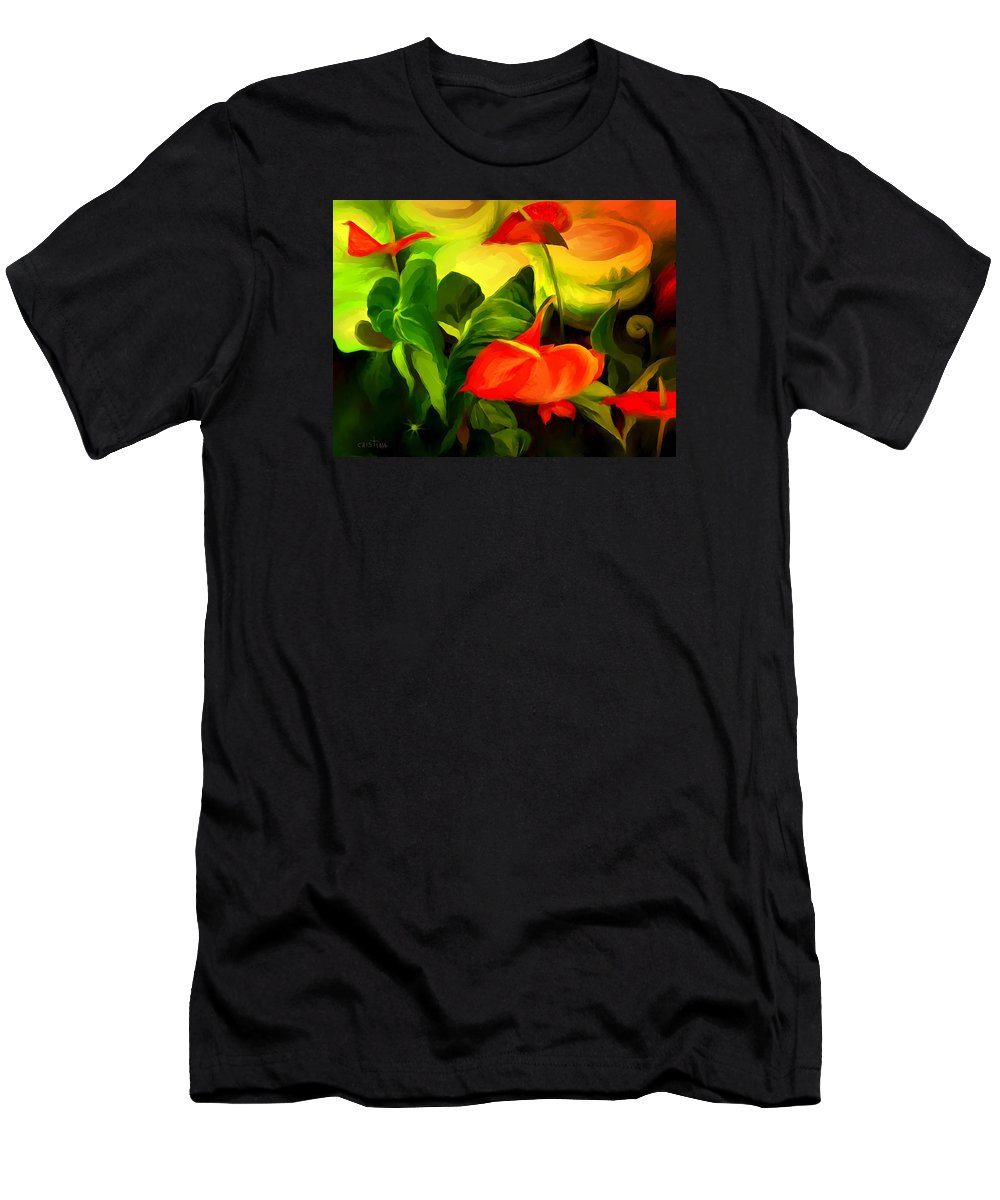 Digital Print Men's T-Shirt (Athletic Fit) featuring the painting Green Red by Cristina Edelman
