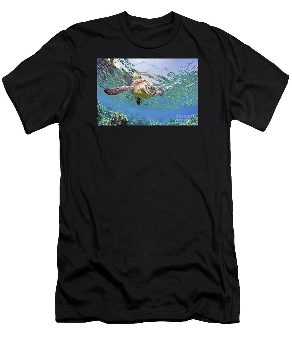 Beautiful Men's T-Shirt (Athletic Fit) featuring the photograph Green Sea Turtle by M Swiet Productions