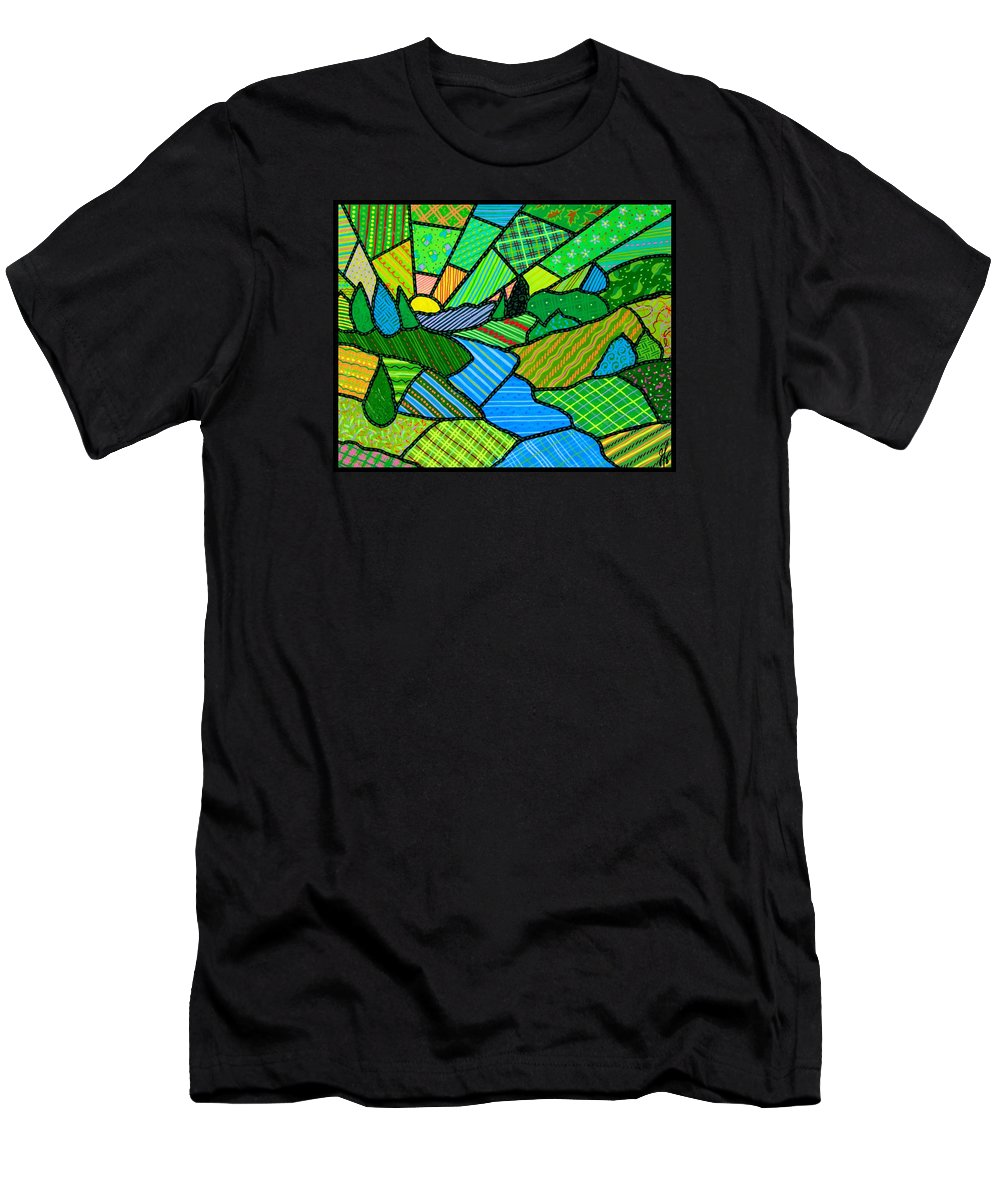 Green Men's T-Shirt (Athletic Fit) featuring the painting Green Spring Morning by Jim Harris