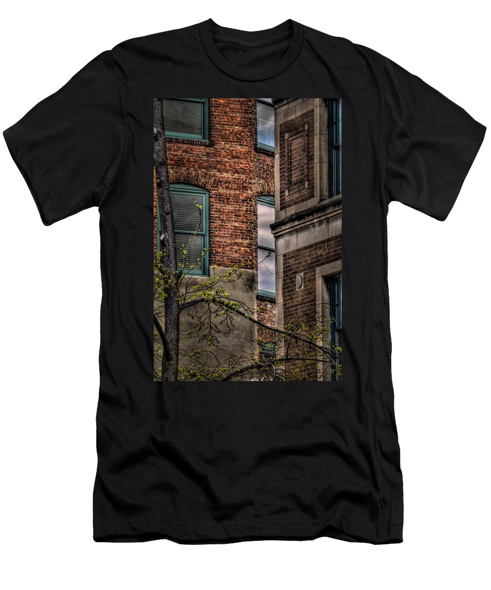 Window Men's T-Shirt (Athletic Fit) featuring the photograph Green Widows And Leaves by Mike Oistad